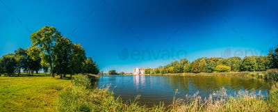 Mir Belarus. Panoramic View Of Mir Castle Complex Ancient Monume