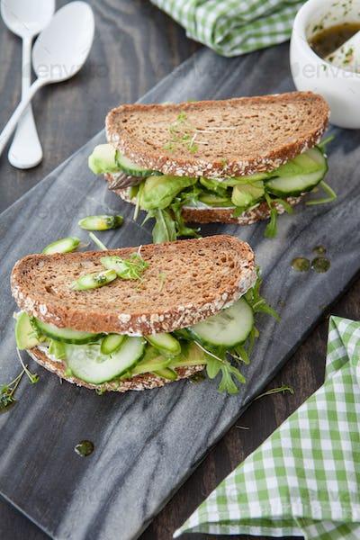 Vegan sandwich with avocado