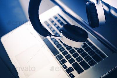 Computer and Headphones
