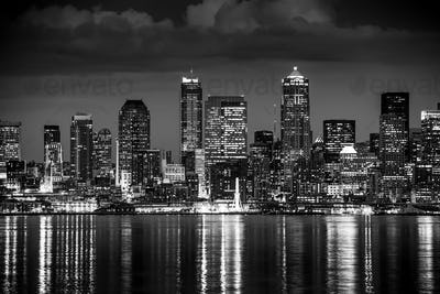 Seattle Night in Black and White