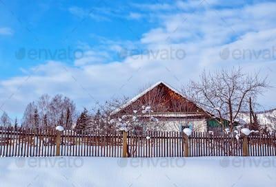 the winter village Katanda, Altai, Siberia, Russia
