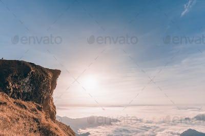 Vintage style sunrise on mountain
