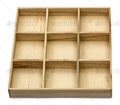 Wooden box for small items, isolated on white background