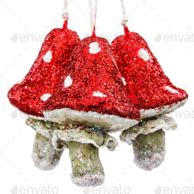 Mushrooms amanita, vintage decoration for Christmas tree, isolat