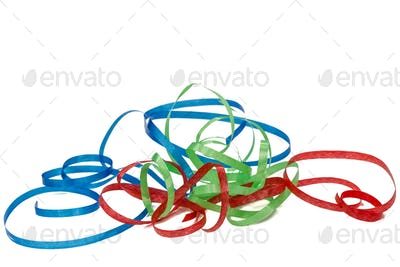 Multicolored streamer, isolated on white background