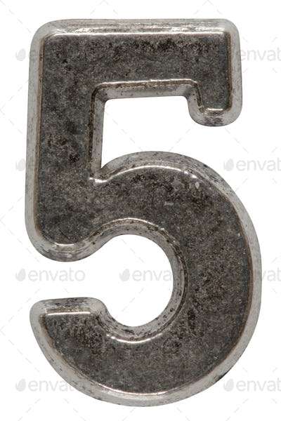 Metal numeral 5 five, isolated on white background, with clippin