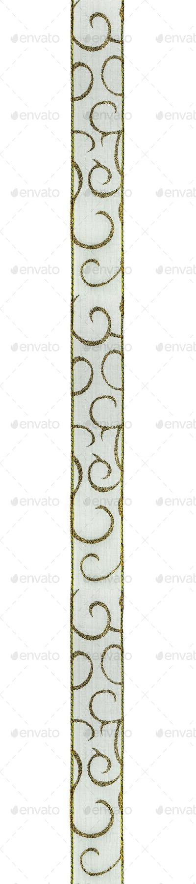 Green ribbon for a festive decor, isolated on a white background