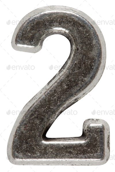 Metal numeral 2 two, isolated on white background, with clipping