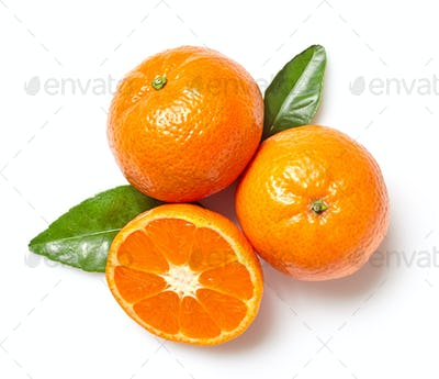 fresh clementines on white background