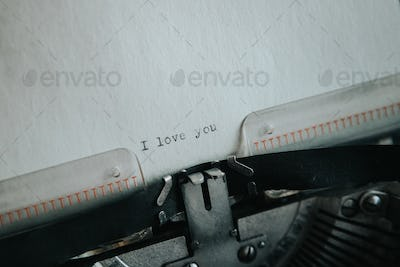 Message I love you printed on typewriter