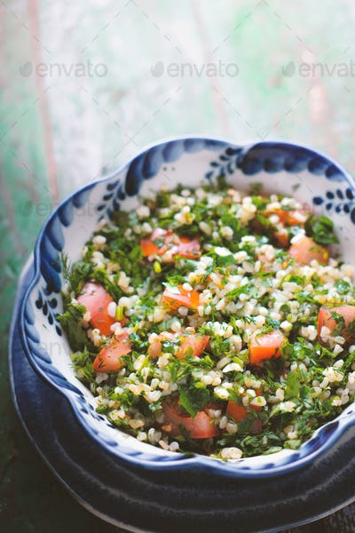 Tabbouleh Salad with tomato, bulgur and parsley