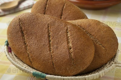 Basket with fresh baked moroccan bread
