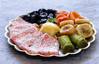 Oriental Sweets (Baklava, Rahat Loachum) And Dried Fruits