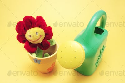Toy Sunflower and Watering Can