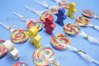 Lollipops with Wooden Figures