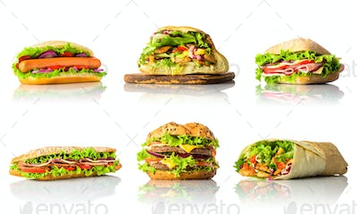 Collage with Sandwiches and Burger on White Background