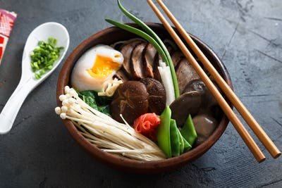 Asian Shiitake, Enoki, spring onions Mushroom egg Noodle or ramen