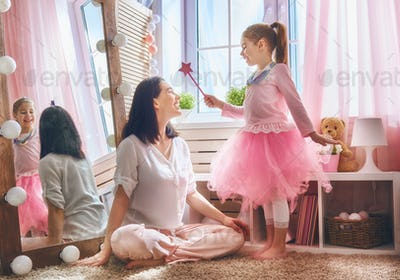 Mom and daughter playing Princess