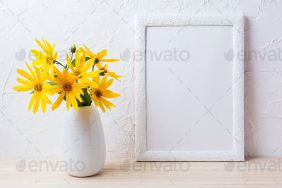 White frame mockup with yellow rosinweed flowers in pitcher