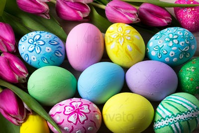 Easter background with hand painted eggs