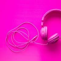 Pink hipster headphones.