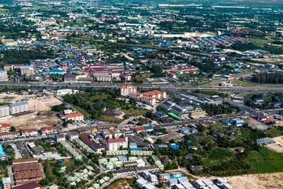 Industrial estate land development construction and residential area