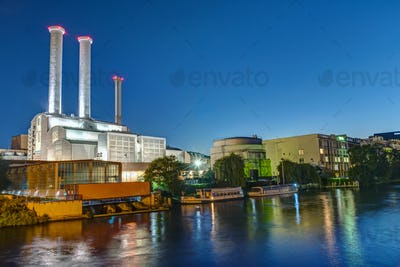 Cogeneration plant at the river Spree in Berlin