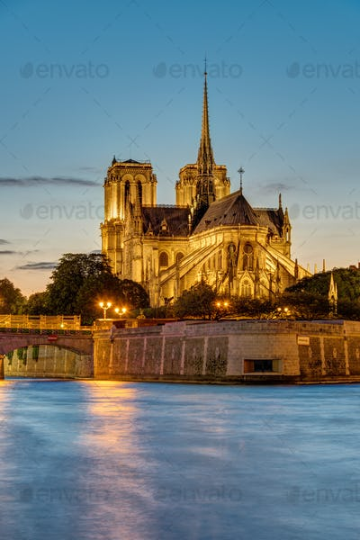 Sunset at the Cathedral of Notre Dame in Paris