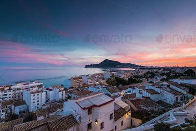 Panoramic vista from balcony in Altea, Spain