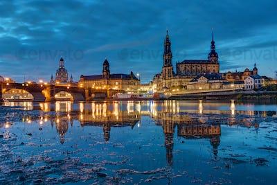 The landmarks of Dresden at night