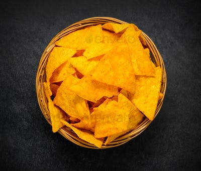 Tortilla Corn Chips in Top View