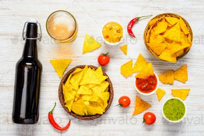 Mexican Tortilla with Dip and Beer