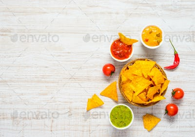 Tortilla Corn Chips with Guacamole Dip and Copy Space
