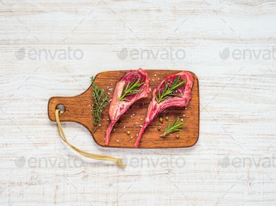 Lamb Chops with Wooden Chopping Board
