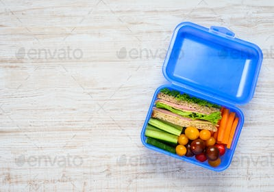 Copy Space of Blue Lunch Box with Food