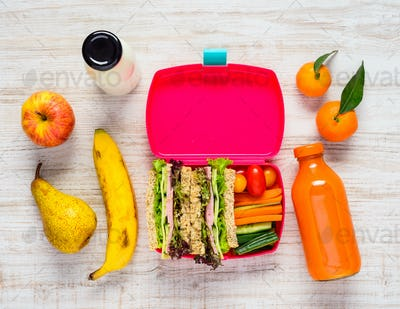 Pink Lunch Box with Tasty looking Fruits and Vegetables
