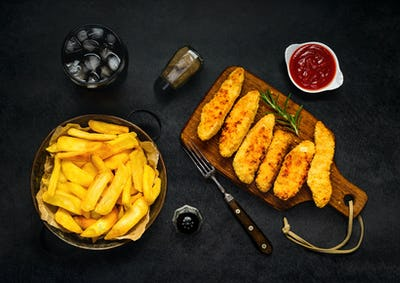 Fried Potatoes with Cola and Chicken Nuggets