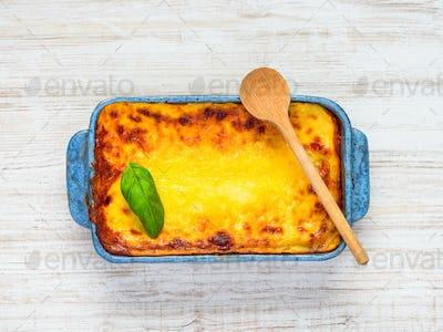 Baked Lasagna Pasta in Top View