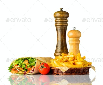 Shawarma Sandwich with Fries Isolated on White Background