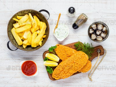 French Fries with Baked Fish and Cola