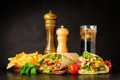 Fast Food with Shawarma, Kebap and Cold Cola