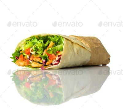 Shawarma Isolated on White Background