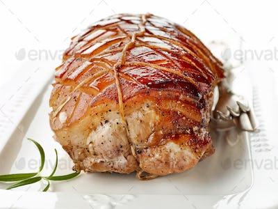 roasted pork on white plate