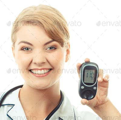 Vintage photo, Woman holding glucose meter and showing thumbs up, checking sugar level
