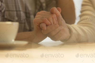 Old and young woman hands