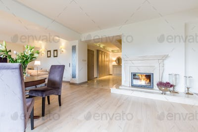 Open bright living space with fireplace