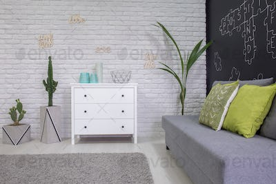 Functional room with decorative houseplants