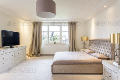 Spacious bedroom with a large bed