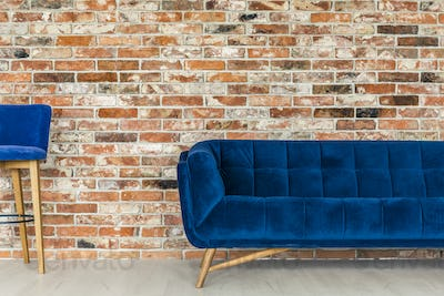 Blue sofa and chair