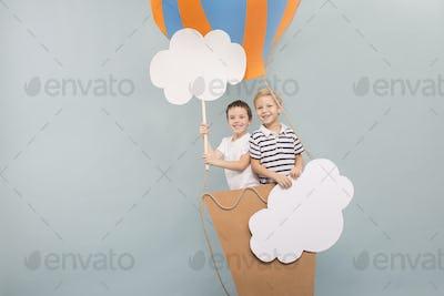 Friends flying in balloon